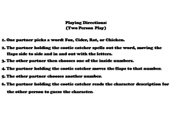 Fantastic Mr. Fox Novel Study (Scoot Unit Review Game)