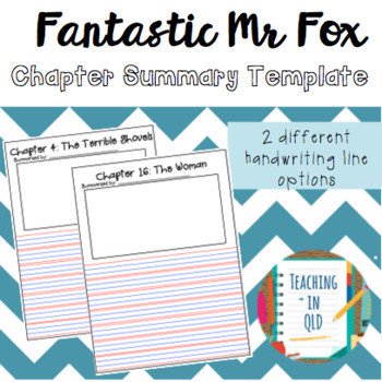 Chapter Summary Template Teaching Resources  Teachers Pay Teachers