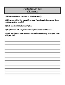 """Fantastic Mr. Fox"" Chapter and Comprehension Questions"