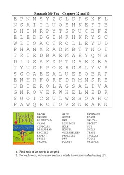 Fantastic Mr Fox - Chapters 12 & 13 Word Search