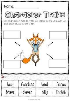 Fantastic Mr Fox Character Trait Activities By Glistening Gems