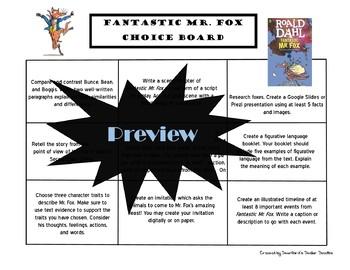 Fantastic Mr. Fox Choice Board Novel Study Activities Menu Book Project Rubric