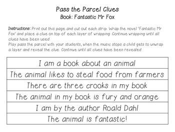 Free Fantastic Mr Fox Clues for Pass the Parcel EDITABLE