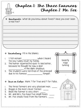 Fantastic Mr. Fox: Comprehension and Vocabulary by chapter