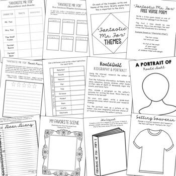Fantastic Mr. Fox Interactive Notebook Novel Unit Study Activities, Book Report
