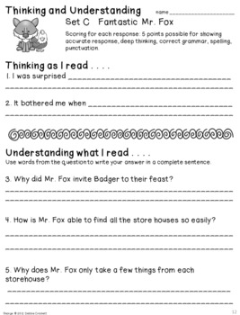 Fantastic Mr. Fox Literature Packet