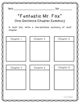 Fantastic Mr. Fox Novel Unit Study Activities, Book Companion Worksheets