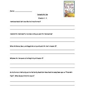 Fantastic Mr. Fox Questions Chapter 1 - 4