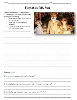 Fantastic Mr. Fox - Reading and Comprehension Guide