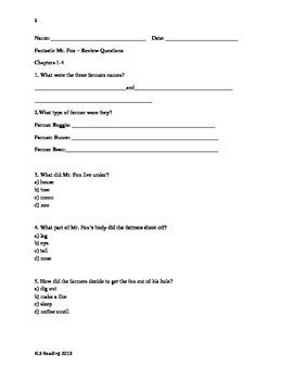 Fantastic Mr Fox - Roald Dahl Adapted Book Summary Questions Vocab PDF format
