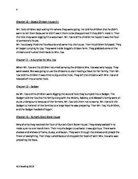 Fantastic Mr Fox - Roald Dahl Adapted Book Summary Questions Vocabulary