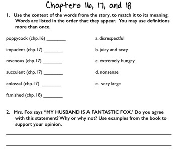 Fantastic Mr. Fox Student Literature Packet and Teacher Guide - CCSS Aligned!