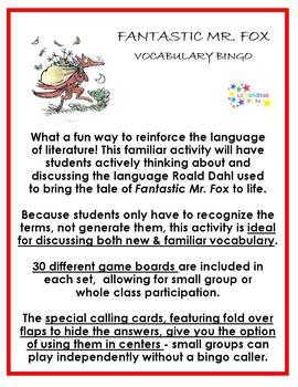 Fantastic Mr Fox Vocabulary Bingo By Learning Fun Tpt