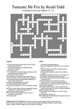 Fantastic Mr Fox - Vocabulary Crossword Chapters 14 - 18