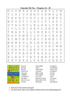 Fantastic Mr Fox - Word Search Chapters 14 - 18