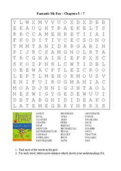 Fantastic Mr Fox - Word Search Chapters 5 - 7