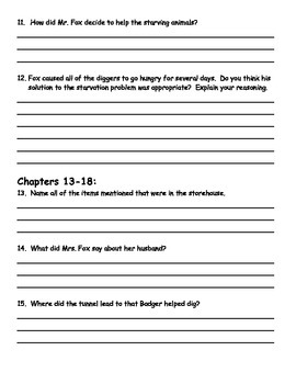Fantastic Mr. Fox by Roald Dahl Comprehension Packet