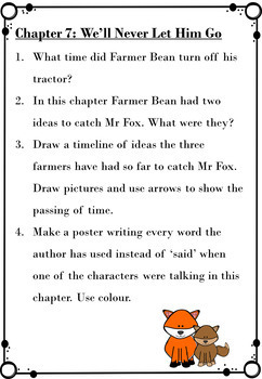 Fantastic Mr Fox By Roald Dahl Comprehension Questions And Literacy Activities