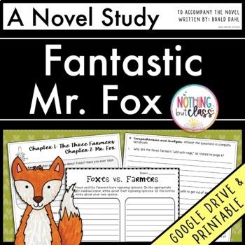 Fantastic Mr. Fox Novel Study Unit: comprehension, vocabulary, activities, tests