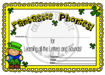 Fantastic Phonics St. Patty Certificate
