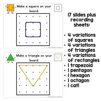 Using Geoboards to make 2D shapes K-2 K.G.B.5, 1.G.A.2, 2.G.A.1