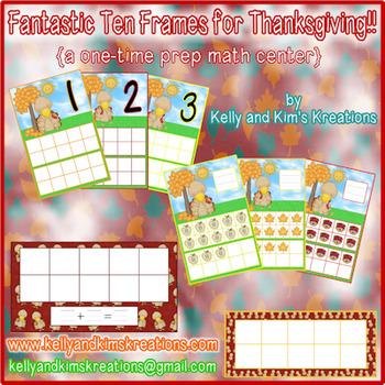 Fantastic Ten Frames for Thanksgiving! {a one-time prep math center}