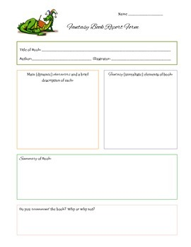 Fantasy Book Report Form