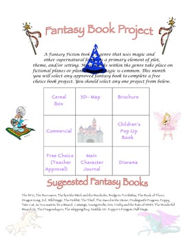 Fantasy Choice Board Book Project