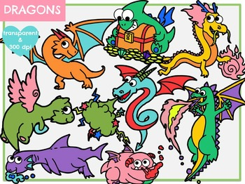 Fantasy Dragons (Digital Clipart)