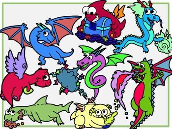Fantasy Dragons (Digital Clipart)