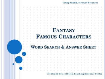 Fantasy Fiction Famous Characters Word Search