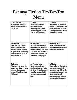 Fantasy Fiction Tic Tac Toe board