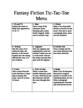 Fantasy Fiction Tic Tac Toe board