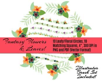 Fantasy Floral Rings & Things • 10 Vector Floral & Leaf Borders • PNGs & PDF