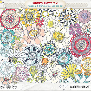 Fantasy Flower ClipArt 02, Cheerful Hand Drawn Colorful Floral Graphics