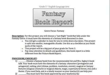Fantasy Genre Unit: Fantasy Book Report