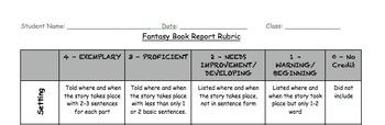 Fantasy Genre Unit: Fantasy Book Report Rubric