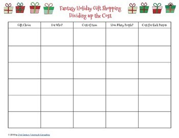 Fantasy Holiday Gift Shopping for Math and Literacy