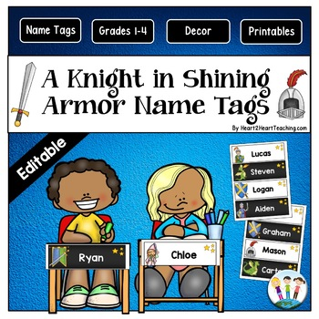 A Knight in Shining Armor Name Tags and Desk Plates {EDITABLE}