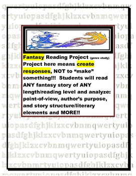 Fantasy Book Report: Reading Response Pages (genre/novel study/project)