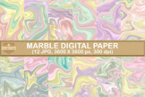 Fantasy Unicorn Marble Digital Papers Textures Backgrounds