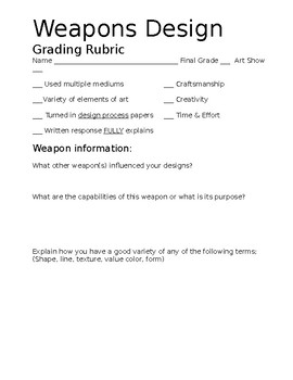 Fantasy Weapons Art Lesson Papers