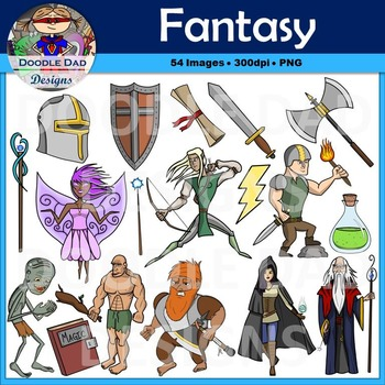 Fantasy and Adventure Clip Art Pack (Fairy, Wizard, Giant,