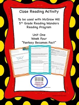 """""""Fantasy becomes Fact"""" 5th Grade Reading Wonders Unit One"""