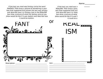 Fantasy or Realism Worksheet