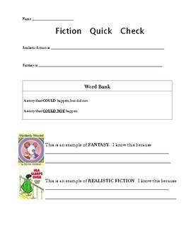 Fantasy vs Realistic Fiction Quick Check