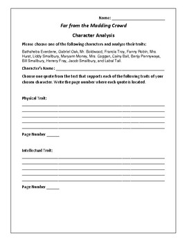 Far from the Madding Crowd Character Analysis Activity - Thomas Hardy