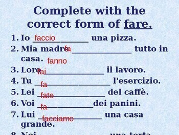 Fare Italian verb power point