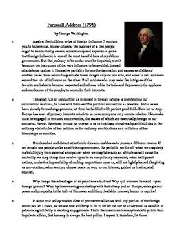 Farewell Address - Informational Text Test Prep