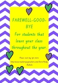 Farewell/ Goodbye/ Memory/ Leaving Book for students who leave your class.